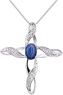 RYLOS Stunning Cross Pendant Necklace Cabochon Gemstone & Genuine Sparkling Diamonds in Sterling Silver .925-7X5MM Black Star, Blue Star Sapphire, Star Ruby, Opal, Onyx, Tiger Eye