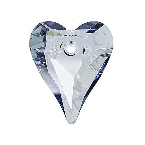 1 colgante de elementos Swarovski – Corazón salvaje (6240), cristal azul, 17 mm (colgante Swarovski Elements – Wild Heart (6240), cristal azul shade