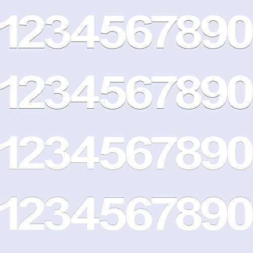 40 Piezas 4 Juegos Pegatinas Impermeables de Números de Vinilo para Buzón, Calcomanías de Números de Vinilo Anti-Decoloración Señales Numéricas Preespaciadas para Hogar (Blanco, 3 Pulgadas)