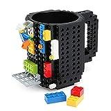 Carfard Build-on Brick Mug, Novelty Creative 12 oz Coffee Cups Funny Tea Mug Beverage Pen Cup for Unique Christmas Gift Idea(Black)