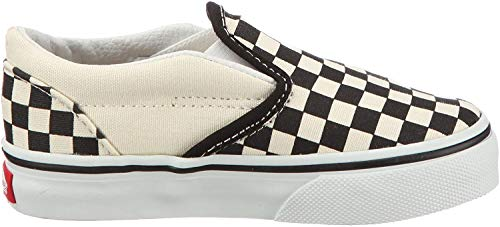 Vans Classic Slip-On black and white checker/white VEX8BWW - Zapatillas de tela para niños, color blanco, talla 26.5