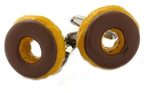 Unbekannt Manschettenknöpfe Donuts Ocker braun gelackt Plus Geschenkbox Essen Trinken Schlemmen Gourmet