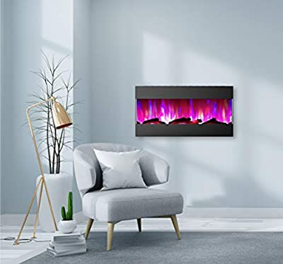 CAMBRIDGE 42 Logs and LED Color Changing Display, Black, CAM42RECWMEF-2BLK Recessed Wall Mounted Electric Fireplace