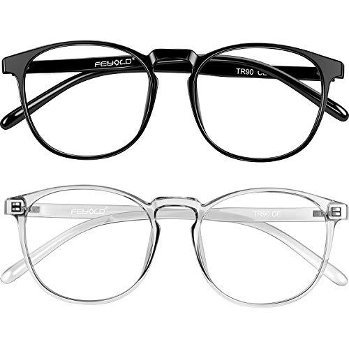 FEIYOLD Blue Light Blocking Glasses Women/Men for Computer Use, Lightweight Anti Eyestrain Gaming Glasses(2Pack)