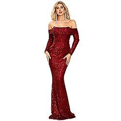 Burgundy Slash Neck Off Shoulder Long Sleeve Sequin Maxi Dress