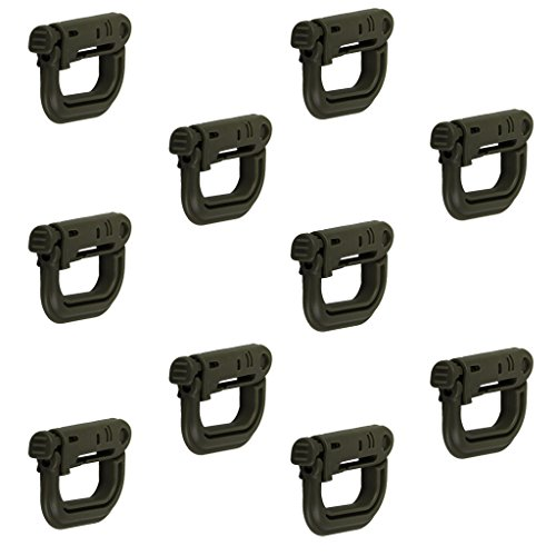 10pcs Carabiner Tactical Buckle D-ring Lock for Climbing Hiking (Military Green)