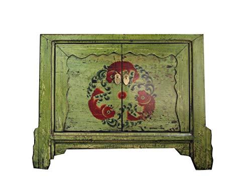 OPIUM OUTLET Chinesische Kommode Sideboard asiatisches Kästchen Schränkchen Vintage Shabby Holz grün