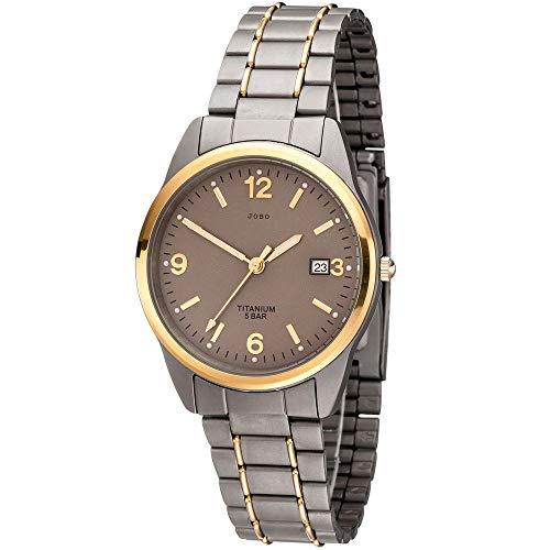JOBO Herren Armbanduhr Quarz Analog Titan bicolor vergoldet Herrenuhr mit Datum