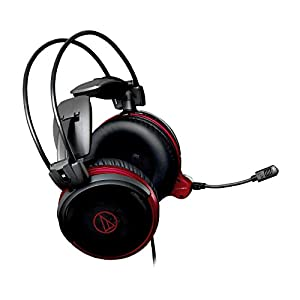 Audio Technica ATHAG1X 3.5mm Jack Lightweight Wired Over-Ear Headphones With Mic and Volume Control, Black/Red