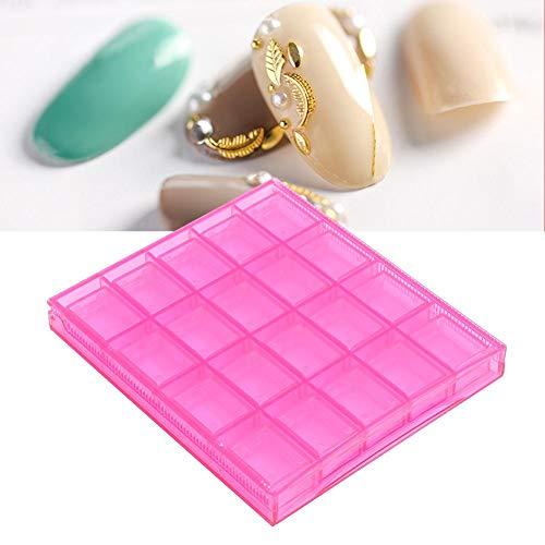 2 kleuren 20 roosters Lege nail art opbergdoos, nagel decoratie volgorde Organiseer doos Transparante manicure container voor dressoir, slaapkamer, badkamer.(Rode roos)