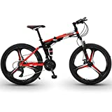 WPW Rueda de 26'Suspensión Delantera de 24 Velocidades Bicicleta de Montaña Rígida MTB Aleación Ligera, Ciclo Plegable de 6 Ruedas de Cuchillo (Color : 21-Speed Red, Talla : 26inches)