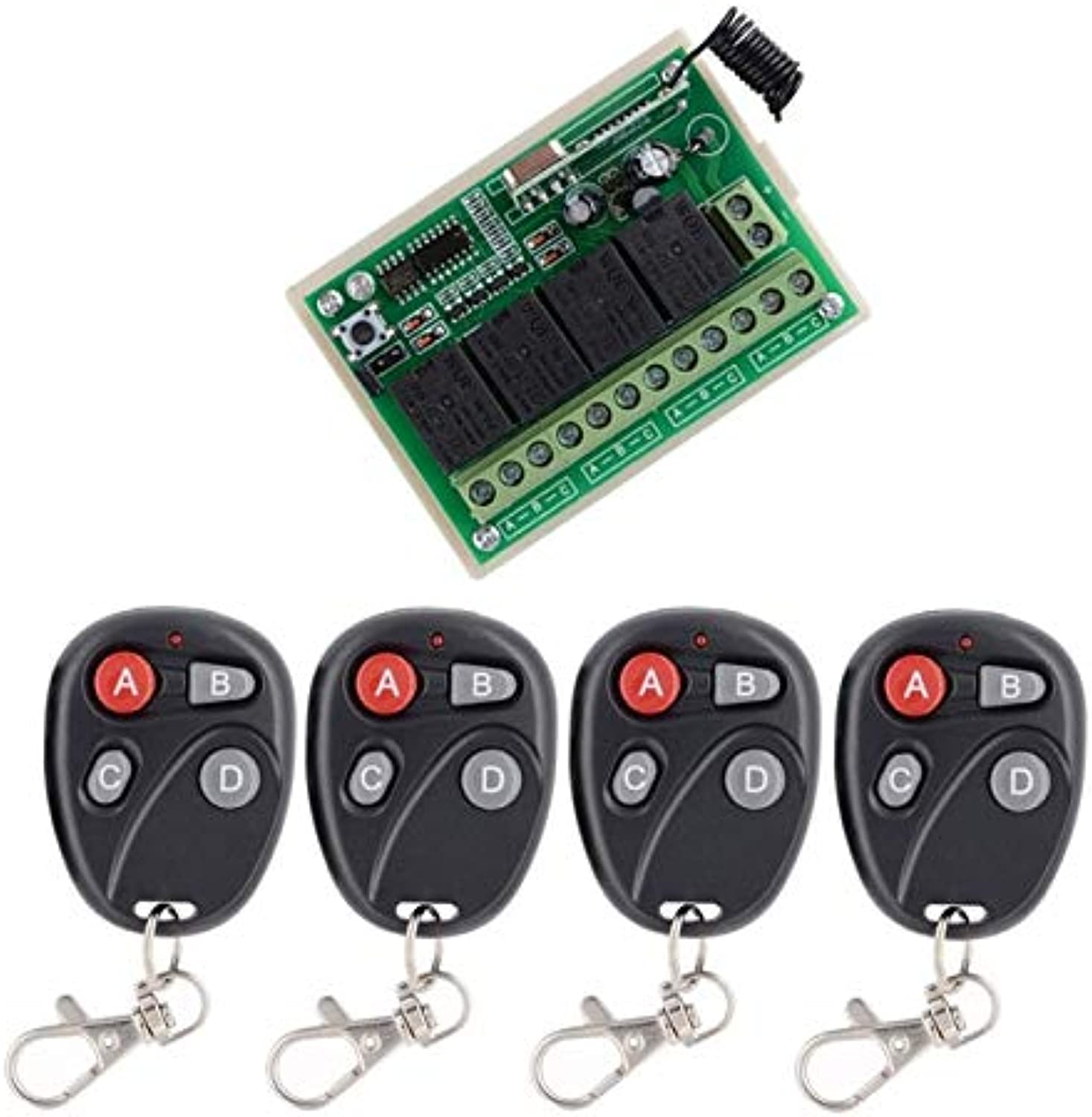 Universal Wireless Remote Control 12V 4CH Channel 433Mhz Switch Integrated Circuit Black Transmitter DIY Replace Part Tool(color  4)