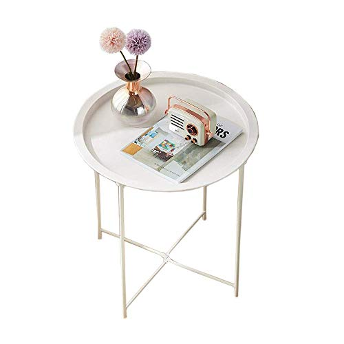 Mesa auxiliar pequeña, mesas, mesa auxiliar, bandeja, mesa de sofá de metal, mesas auxiliares pequeñas y redondas, mesa de refrigerio interior o exterior resistente al óxido y al agua, mesa de centro