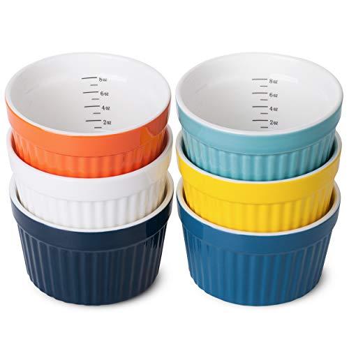 BTaT- Ramekins, Set of 6, Ramekins 8 oz, Assorted Color, Ramekins for Baking, Ramekin with Measurement Markings, Creme Brulee Dishes, Souffle Cups, Custard Cups, Ceramic Bakeware