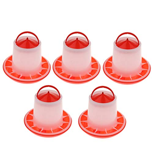 5X Automatischer Futterspender Wasserspender Futterstation für Geflügel, Henne, Huhn, Ente, Taube, Gans, usw.