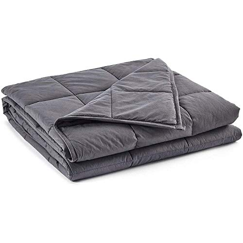 FWKTG Bedding King Weighted Blanket, Cooled Weighted Blanket Cotton Material With Premium Glass Beads (Grey) (Size : 48X72in-10LB)