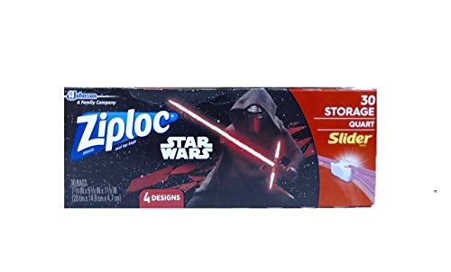 Ziploc Storage Slider Bags, Quart, 30 Count, Featuring Star Wars Designs