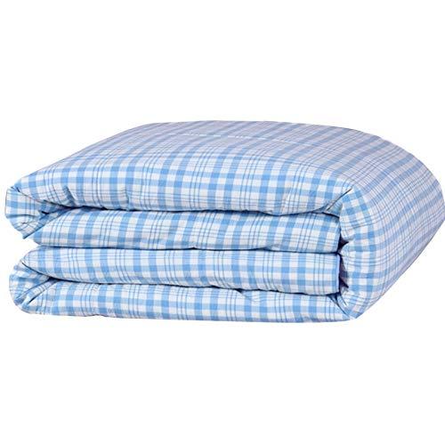 WAJIEFD 20% Fibra de Soja Edredón Tejido de Algodón Lavado Dormitorio para Estudiantes,Exquisito Diseño de Puntada de Acolchado (Color : Blue, Size : 200X230CM-3.7KG)