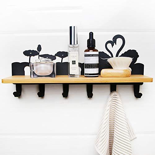 TBYGG kaphaken voor muur, muur gemonteerde kapstok met 5 metalen haken en extra opbergruimte, ruimtebesparend duurzaam, badkamer kast keuken kast organisator, multi-Purpose jas haak rack