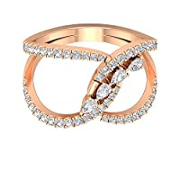 0.86Ct HI-SIダイヤモンドクラスターリングオープンスピルトシャンクリングユニークな婚約指輪アンティークカクテルリングブライダル結婚指輪妻への贈り物, 14K ローズゴールド, Size: 4