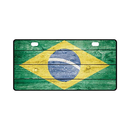 qidushop Brasil Brazil Brazilian Flag Funny Humor Auto Car Tag Frame Slim License Plate for Men