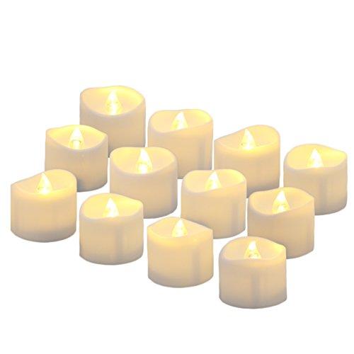Benvo LED flammenlose Kerzen, 3.8cm elektrische flackernde batteriebetriebene teelichter, led votivkerzen warme weiße, 12 Pack