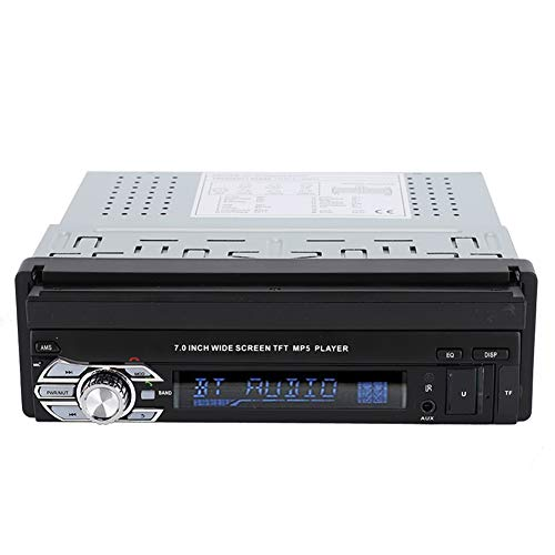 ASHATA Lecteur MP3 MP4 MP5 Multimédia, Autoradio Bluetooth Stéréo avec Écran Tactile 7 Pouces Rétractable Télescopique-Din Simple MP5-SWM9601 pour Voiture