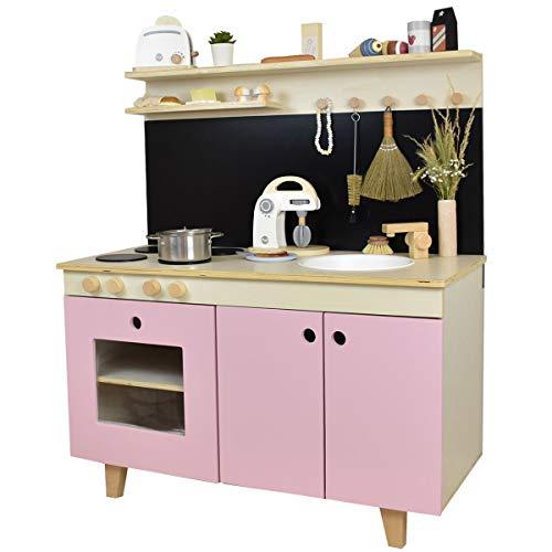 Meppi Kinderküche Malmö, Natur-rosa / Spielküche aus Holz / Küche für Kinder
