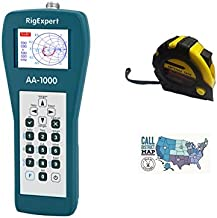 Bundle - 3 Items - Includes RigExpert AA-1000 Antenna Analyzer 0.1 up to 1000MHz with the New Radiowavz Antenna Tape (2m - 30m) and HAM Guides Quick Reference Card