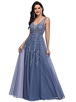 Ever-Pretty Women s Sleeveless Lace Wedding Party Bridesmaid Dress for Women Dusty Navy US10