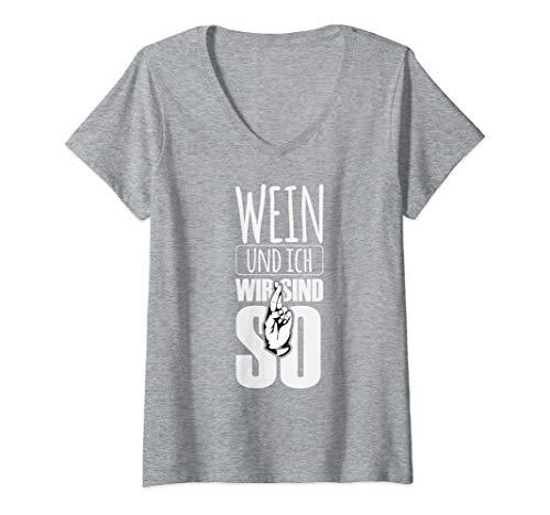 Damen Witziges Wein Geschenk Damen, Wein und ich, wir sind so T-Shirt mit V-Ausschnitt