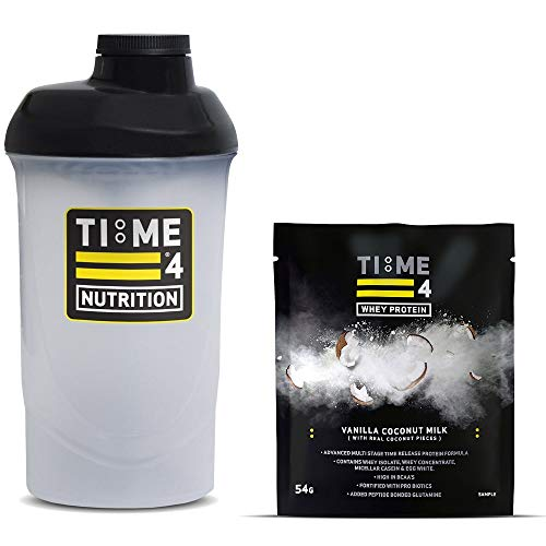 Time 4 Nutrition 700ml Protein Shaker Bottle + Single Serving Sachet of Time 4 Whey Protein Our Premium Time Release Whey Protein Blend (Vanilla Coconut Milk)