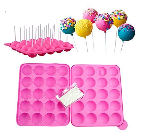 20 Hohlraum Formen Silikon Lollipop Tablett - Größe 22.5 * 18 * 3 cm Kreis Durchmesser 4 cm, hitzebeständig -40°C zu 230°C mit 20 Sticks (Rosa)