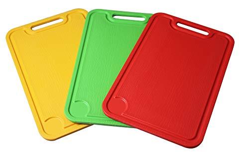 Fackelmann 521601 Planche à découper colorée en PL 37,5 x 25,5 cm (couleurs assorties : vert, rouge, orange), quantité : 1 pièce, polypropylène