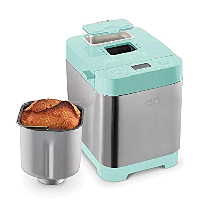 Dash Everyday Stainless Steel Bread Maker, Up to 1.5lb Loaf, Programmable, 12 Settings + Gluten Free & Automatic Filling Dispenser - Aqua