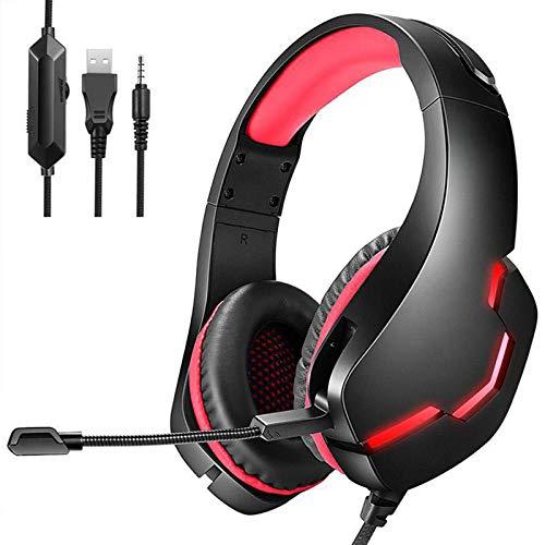 SUN JUNWEI Gaming Auriculares con Microfono Sonido Envolvente Cascos, Orejeras Acolchadas Ligero Cómodo y Diadema Ajustable,para Juegos para PS4/ Switch/PC,Red Black