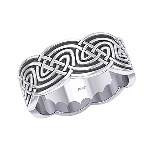 US Jewels Men's 0.925 Sterling Silver 10mm Irish Celtic Knot Ring Band, Size 8.5