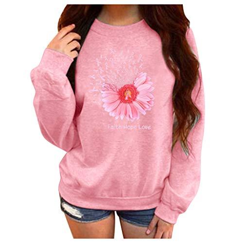 Xmiral Pullover Damen Buchstabe Blume Drucken Langarm Rundhals Fleece Sweatshirt Herbst und Winter Hemden Plus Size Übergröße Streetwear(b Rosa,M)