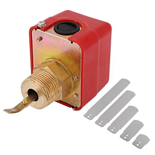 Interruptor de flujo de agua de latón, AC250 V, regulador del sensor de agua líquido, conexión de rosca NPT, tipo de pádel automático, interruptor de flujo rojo, 1 unidad