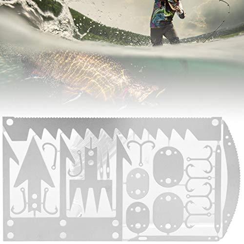 DAUERHAFT Long Trap Buckle Multifunktions-Werkzeugkarte Survival Blade Mehrere Funktionen Angelhaken-Karte, Angeln, Jagen, Wildnis