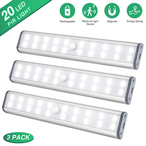 Under Cabinet Lighting Closet Light 20 LEDs 3 Packs, Wireless Rechargeable Cabinet Lights, Magnetic Under Counter Lighting, LED Motion Sensor Night Light for Closet Cabinet Wardrobe Stairs (White)
