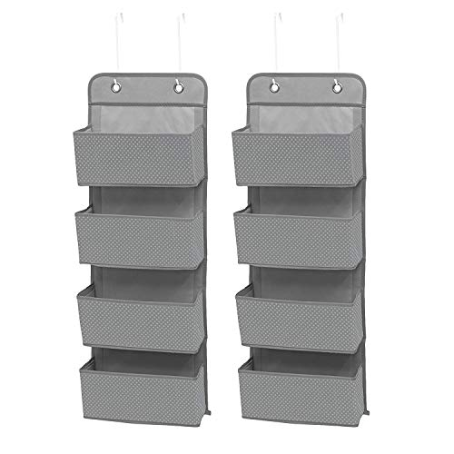 Delta Children 4 Pocket Over The Door Hanging Organizer Easy Storage/Organization Solution - Versatile and Accessible in Any Room in the House, Dove Grey, 2 Pack