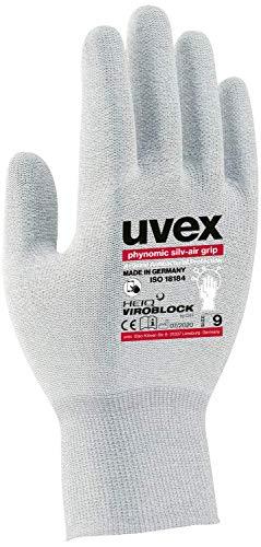 1 Paar uvex phynomic silv-air Grip Hygiene-Handschuhe - Mehrweg-Schutzhandschuhe gegen Erreger/Mikroorganismen - 08/M