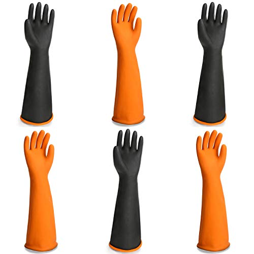 Chemical Lab Gloves, EnPoint 3 Pairs 21.6 Inches Waterproof Work Gloves for Acid Alkali and Oil Protection