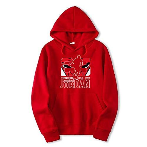 23# Jordan Hip-Hop Basketbal shirt, Heren Trui, Fashion Gedrukt Alphabet Casual trui met lange mouwen Youth Populaire Loose Top,Red,L