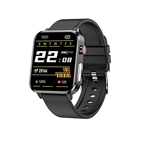 Ownlife Hombres PPG ECG Smart Watch con Temperatura Corporal Tarifa cardíaca Monitor de presión Arterial SmartWatch 1.7 Pulgadas Full Touch Mujer Reloj Deportivo (Color : Black)