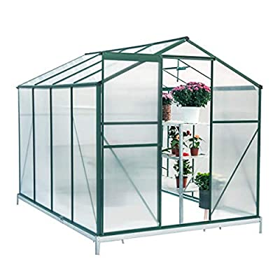 Mellcom 8'(L) x 6'(W) x 6.6'(H) Polycarbonate Portable Walk-in Garden Greenhouse Large Hot House with Adjustable Roof Vent and Rain Gutters,UV Protection Planting House