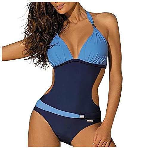 FOTBIMK Traje de baño de mujer color a juego con cuentas de vendaje cojín push up traje de baño bikini traje
