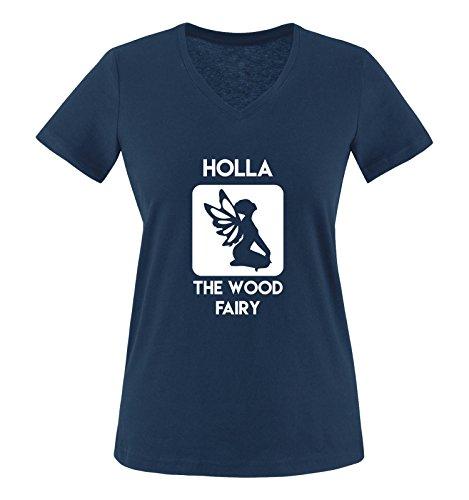 Comedy Shirts - Holla The Wood Fairy - Damen V-Neck T-Shirt - Navy/Weiss Gr. XL