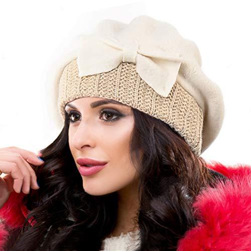 Ruphedy Barett Damen Baskenmützen Wolle Beanie Mütze Warme Wintermütze Hy022 (Sahne)
